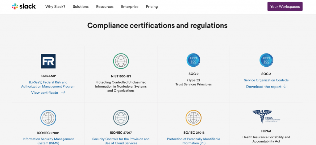 Slack uses compliance as a B2B marketing strategy with this specialized webpage.